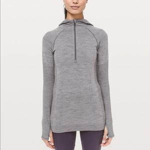 LULULEMON Gray & White Swiftly Wool Hoodie Size 4